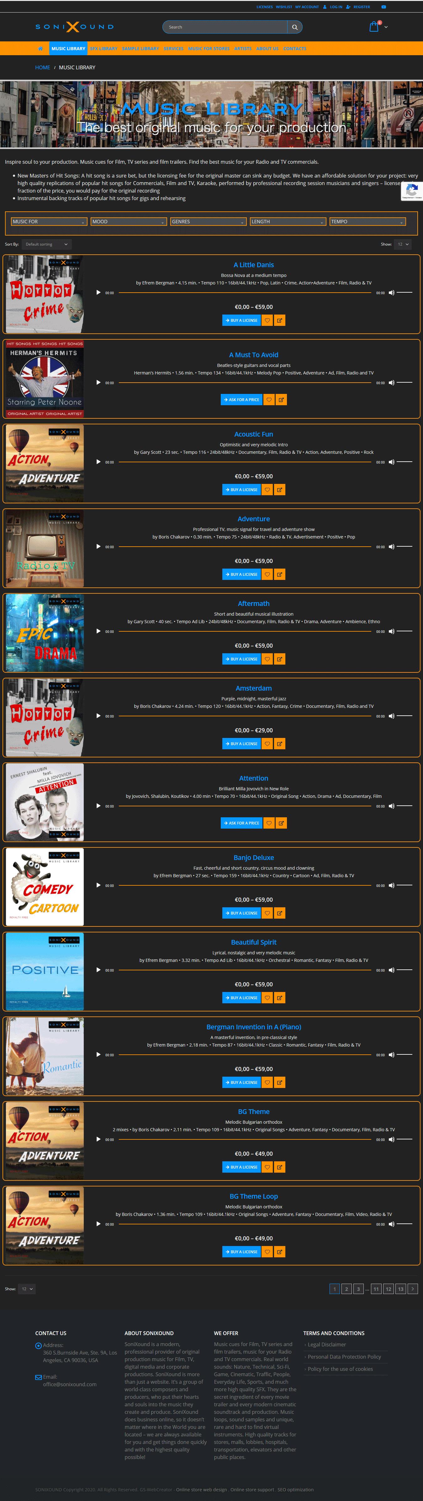 Визия на мултимедийно съдържание в музикалната библиотека на онлайн магазин за продажба на музика, звуци, лупове, изработен от GS-WebCreator