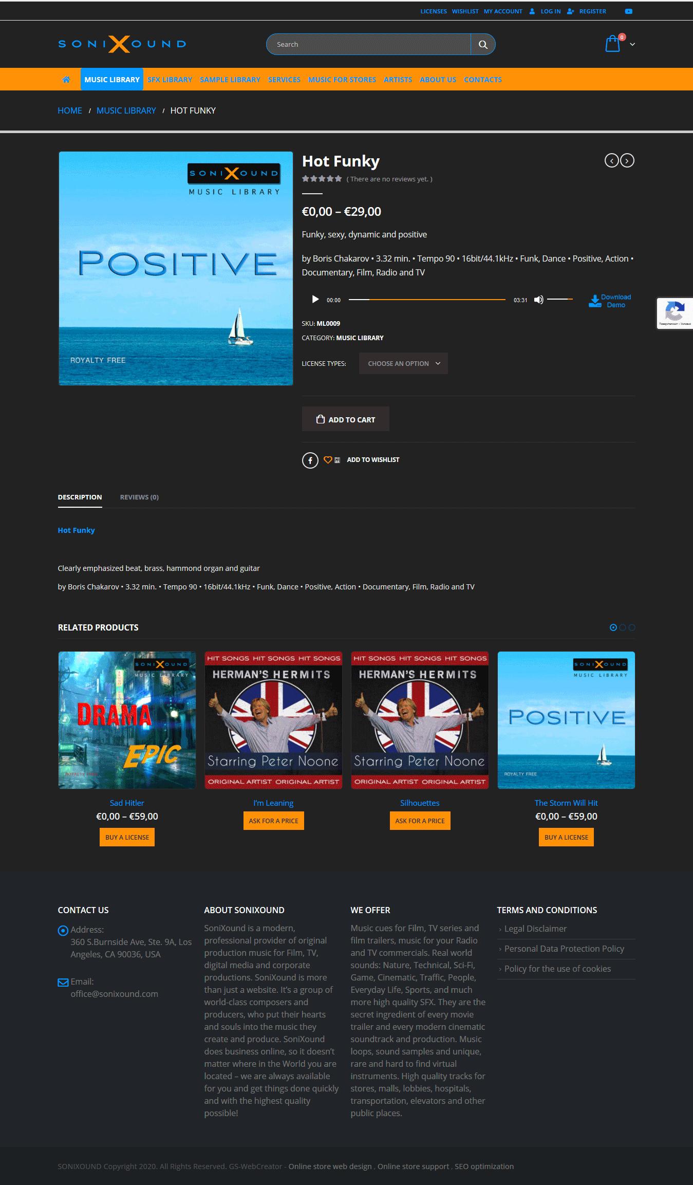 Визия на мултимедийно съдържание в онлайн магазин за продажба на музика SoniXound, изработен от GS-WebCreator