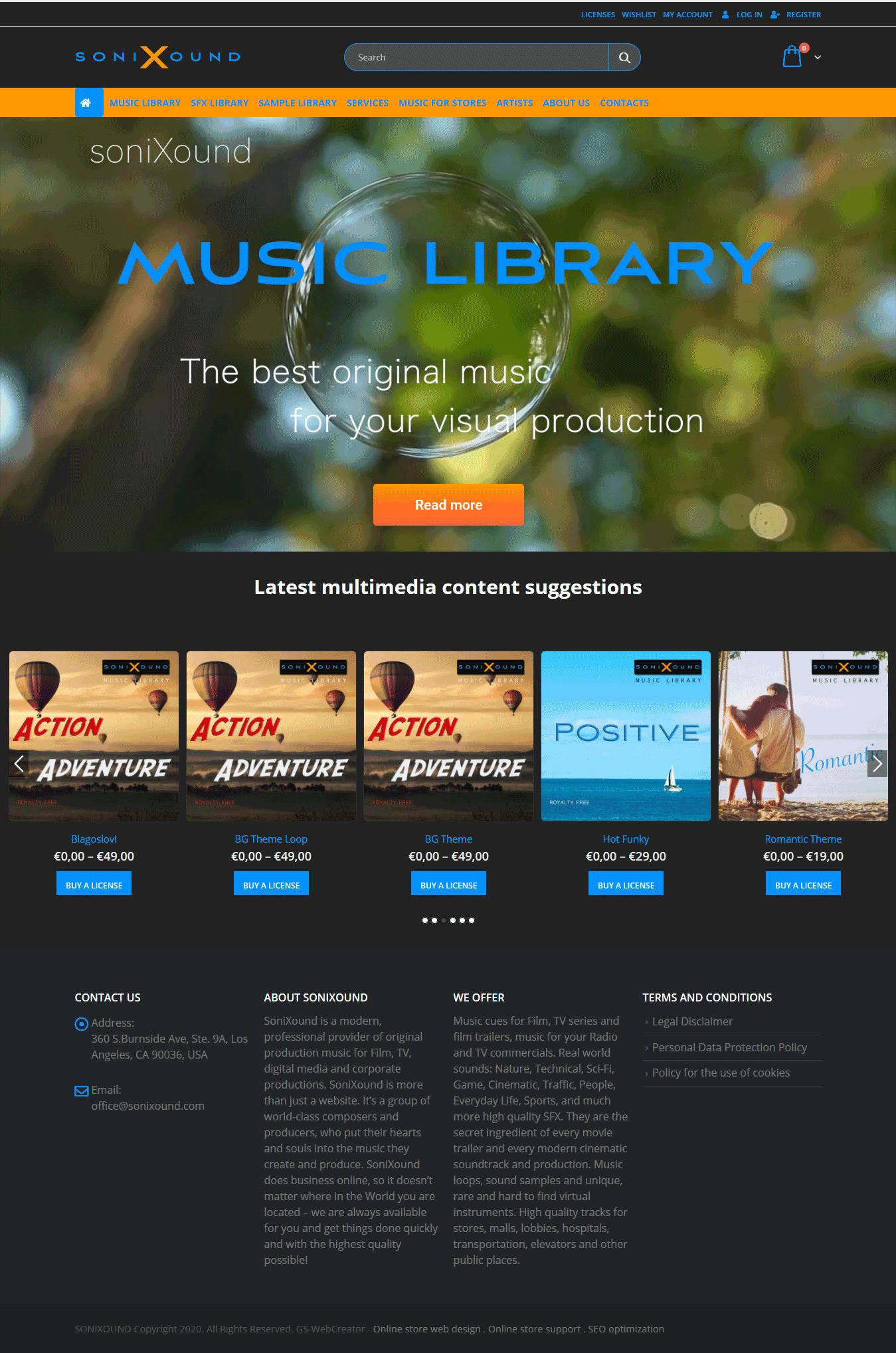 Изработка на онлайн магазин за мултимедийно съдържание (музикални файлове, звуци, лупове, бъндъли) от GS-WebCreator