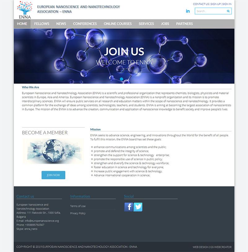 Изработка на сайт на Европейска Асоциация по Нанонауки и Нанотехнологии (ENNA)-GS-WebCreator