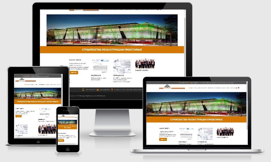 Изработка на сайт с мобилна версия (респонсив дизайн) на строителна фирма Менкаура-GS-WebCreator